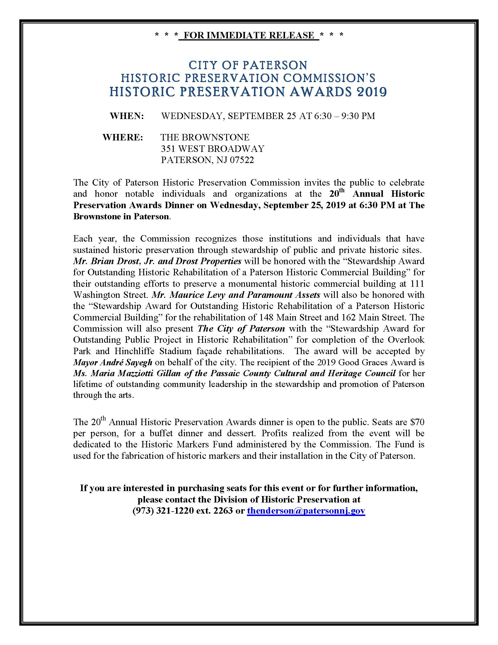 20th Annual Historic Preservation Commission Awards Dinner