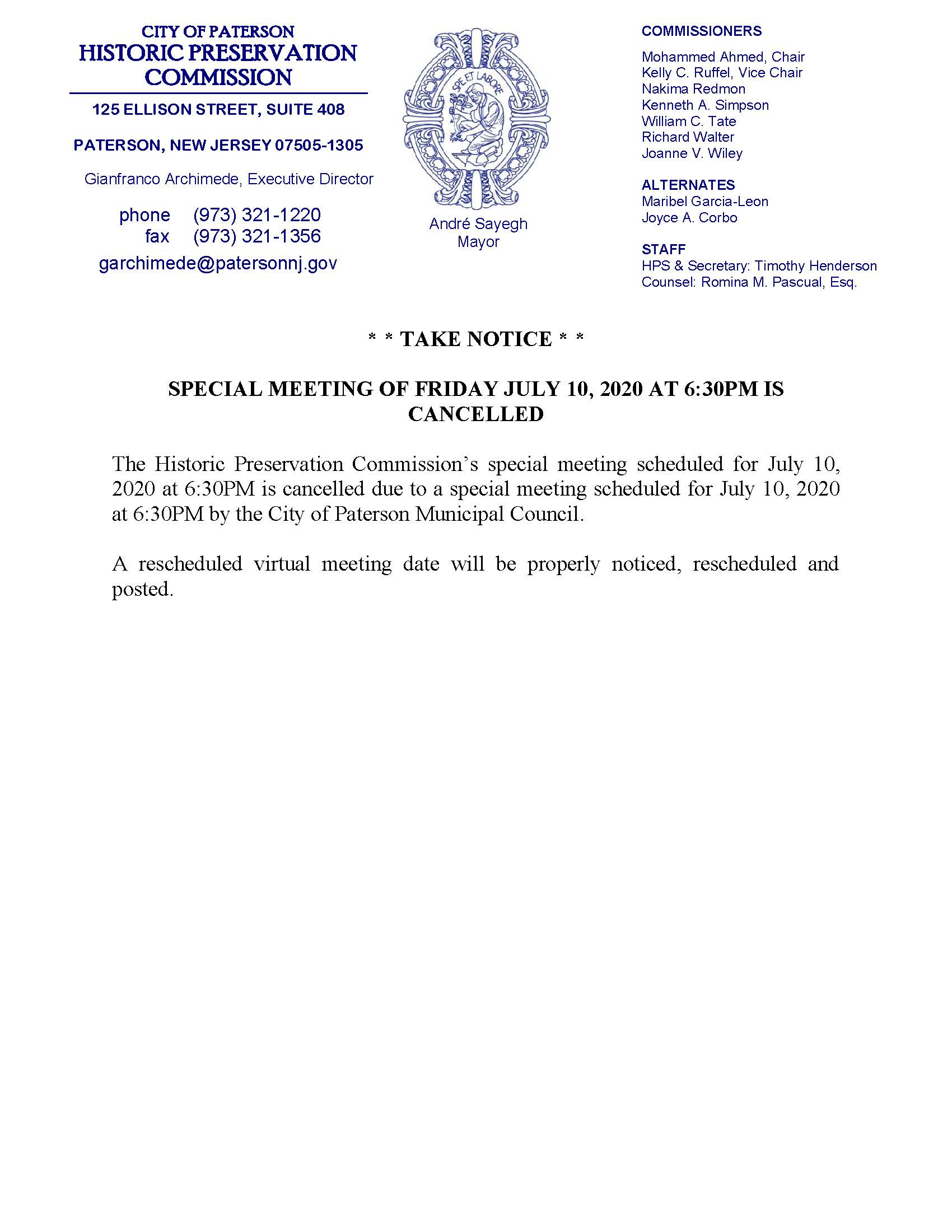 HPC Special Meeting 7/10/2020 CANCELLED